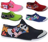 KOLLACHE Womens Flat Summer Casual Canvas Ladies Plimsole Pumps Trainers Shoes