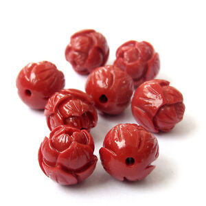 8Pcs-Red-Coral-Flower-Shape-Beads-Finding-Jewelry-Accessory