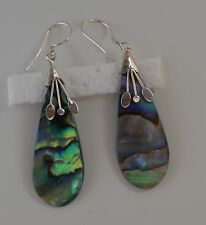 Handcrafted Abalone Shell (New Zealand Paua Shell) Dangle Earrings in 925 Silver