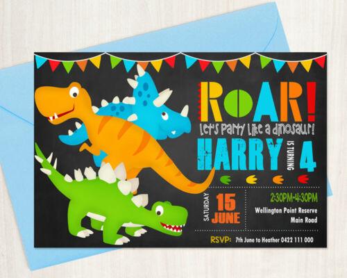 Printable Personalised Boy Birthday Invitation Dinosaurs chalkboard background