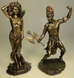 SET-OF-2-ORISHA-CHANGO-amp-OSHUN-God-Goddess-Yoruba-African-Statue-Sculpture