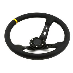 350mm-Racing-Deep-Dish-Steering-Wheel-Billet-Aluminium-Frame-PVC-fits-OMP-HUB