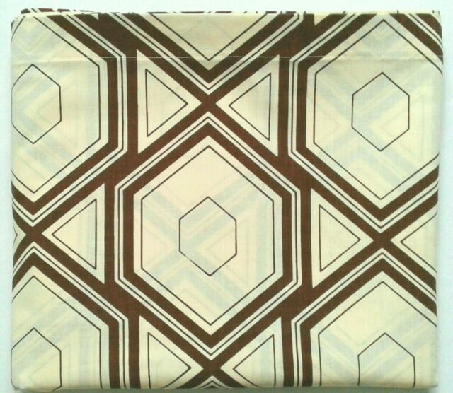 WABASSO Vintage Bedsheet QUEEN FLAT Brown Geometric Hexagon Pattern on Ivory