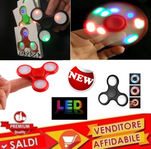 CON LED FIDGET SPINNER GIOCO RILASSANTE CUSCINETTO 3D ANTI STRESS TASCABILE new