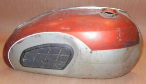 1966-1974-Triumph-T100R-T100C-500cc-steel-gas-fuel-tank-USED-red-silver
