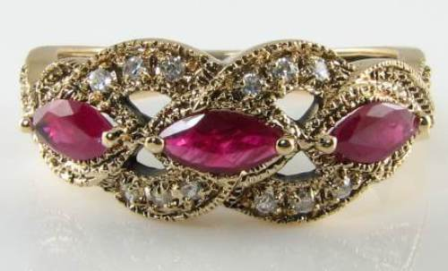 CLASS 9K gold NATURAL RUBY  & DIAMOND ART DECO INS RING FREE RESIZE