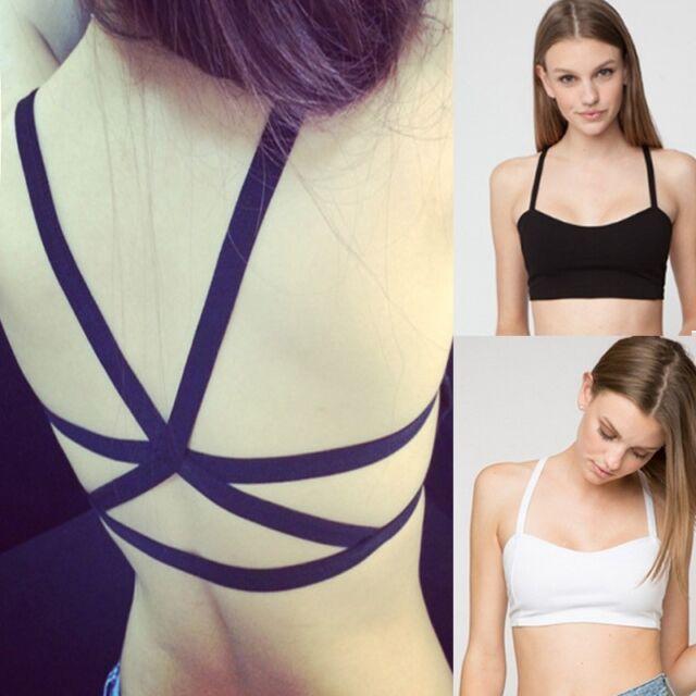 Sexy Women Padded Bra Tops Bustier Vest Crop Top Bralette Blouse Black White
