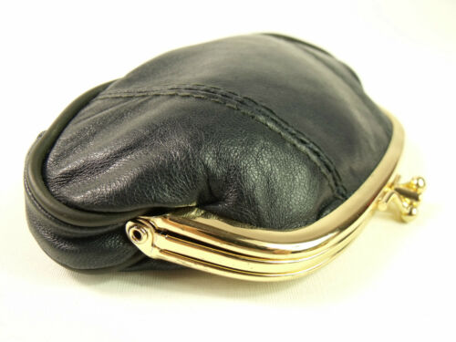 Mesdames filles super douce de haute qualité bleu marine en cuir véritable porte-monnaie pochette