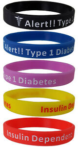 5-Pack-Diabetes-Type-1-Insulin-Dependent-Silicone-Bracelet-Wristbands