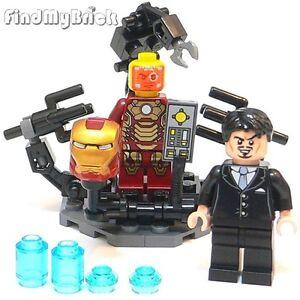 Lego-Custom-Suit-Up-Gantry-Anthony-Tony-amp-Iron-Man-Mark-42-Minifigures-NEW