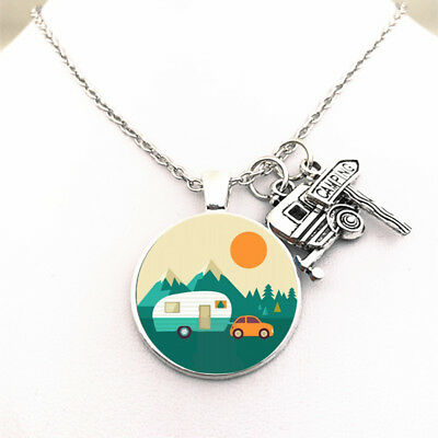Happy Camper Forest Camper Charm Camping Necklace Chain Pendant