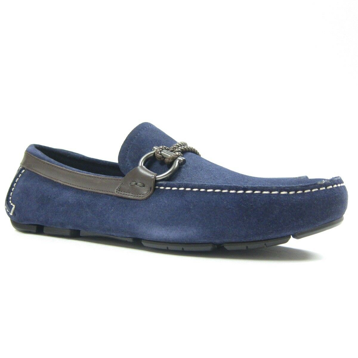 P-392210 New Salvatone Ferragamo Front Driving Loafers Shoes Navy Suede US 7