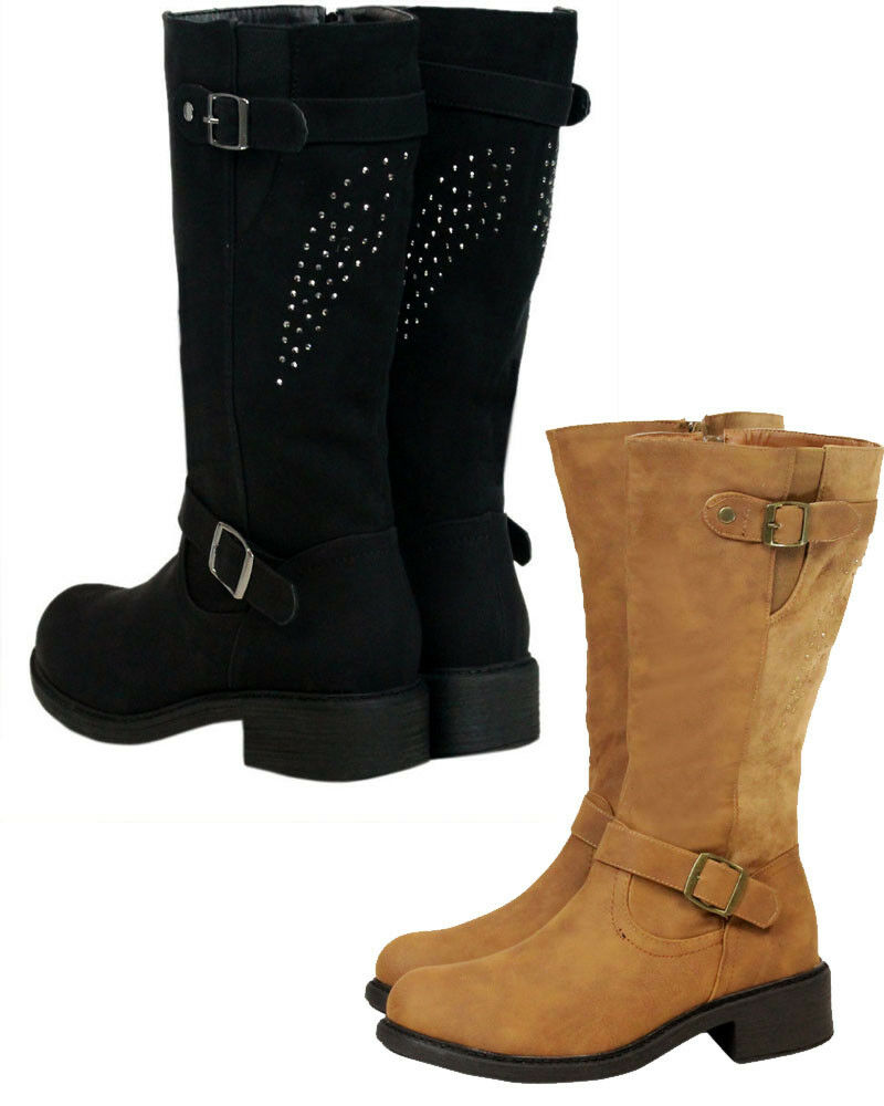 Womens Ladies Knee High Low Mid Block Heel Riding Long Autumn Winter Boots Size