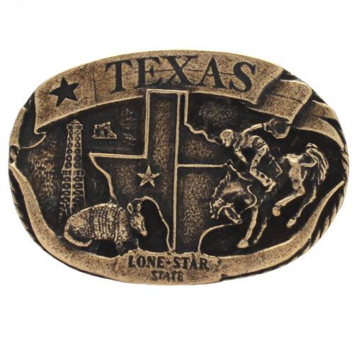 "Texas Lone Star Trophy Belt Buckle Antique Brass 6004-09 USA 3/"" x 2/"""