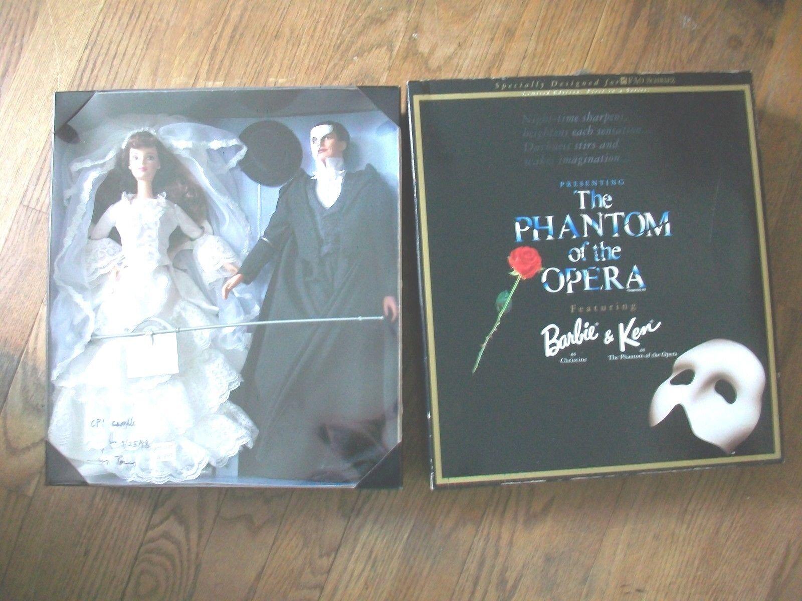 Barbie Y Ken fantasma de la ópera FAO Schwartz le 1998 Muñeca de muestra