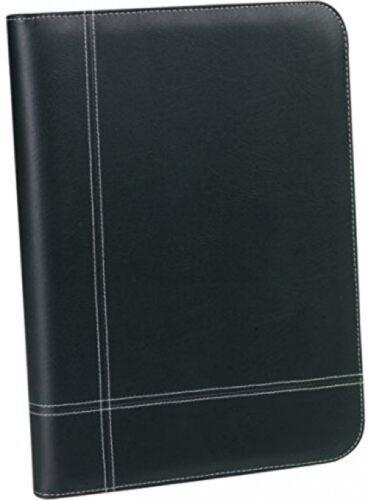 Black Leather Portfolio 3-Ring Binder Calculator Zippered Organizer Planner G-9