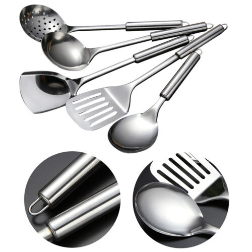 Silver Utensils Daily Use Kitchen// Home Tool Set Of Stainless Steel 5-Pcs
