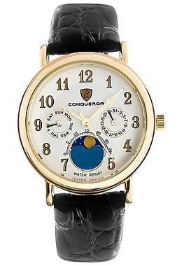 Conqueror Caritas Moon Black Leather Unisex Watch
