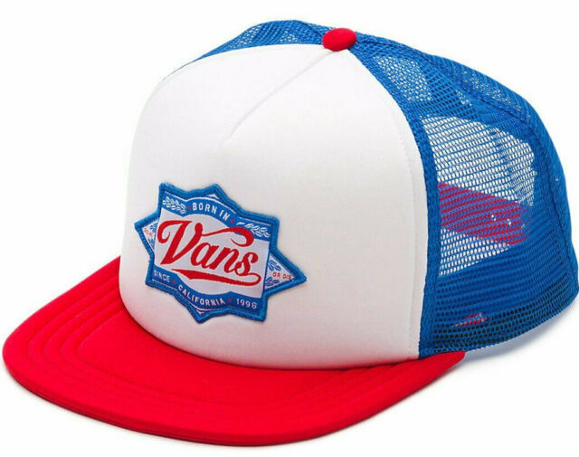 VANS off The Wall Brewed Snapback Trucker Hat Mens Red White Blue ...