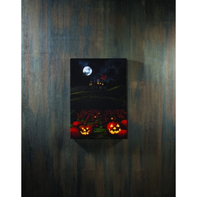 Castle on the Hill LED Light-up 20 x 14 inch Halloween Stretched Canvas  Wall Art