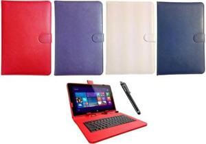 cheaper cdb59 ad0f2 Details about Keyboard Case Leather Cover Stand Wallet Folio fits Lenovo  Tab E10 & Stylus