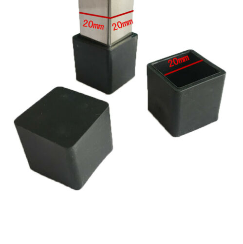 Square Black Rubber Chair Table Feet Furniture Tube Pipe Stick End Cover Caps