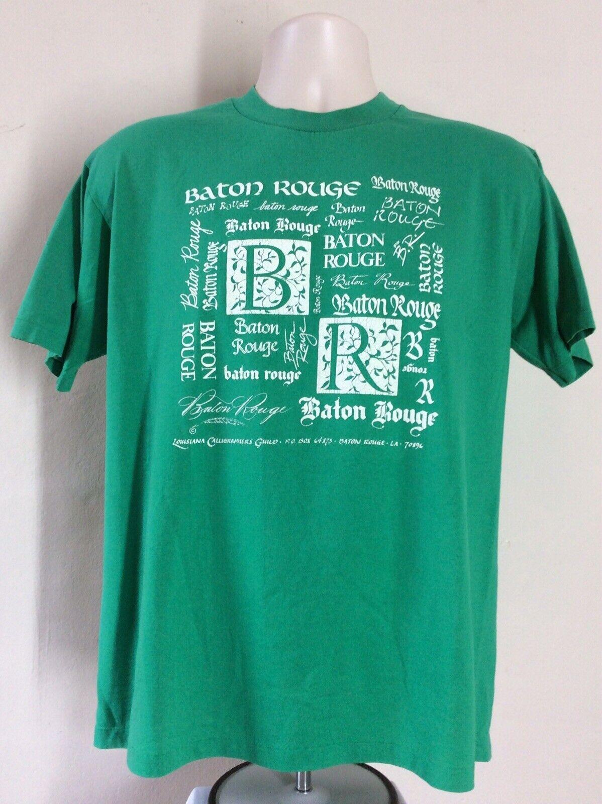 Vtg 80s Baton Rouge Red Stick T-Shirt Green L Hanes 50/50 Louisiana Souvenir