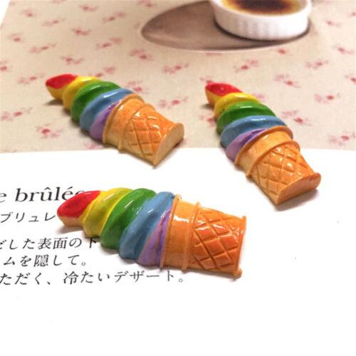 Rainbow Color Ice Cream Cones Cabochons Flatbacks Decors 12x30mm x10 Lot of