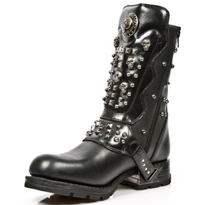 NEW Rock Stile MR019-Ingegnere Stivali in Pelle Stile Rock Gotico Streetfighter ZIP TESCHI 25ea9a
