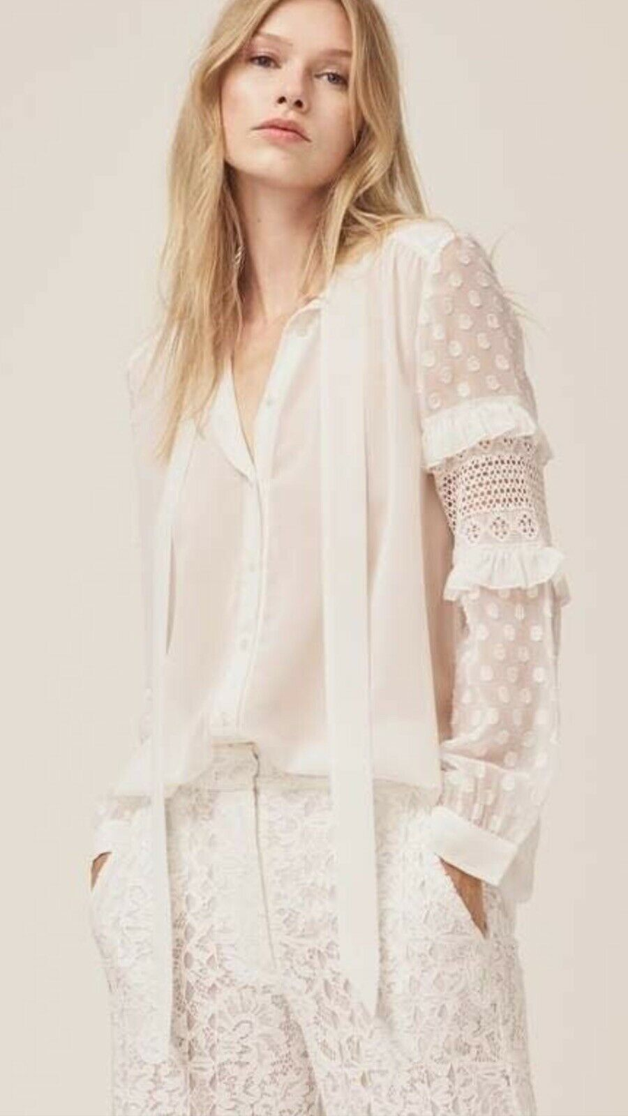 French Connection Comino Patchwork Shirt, Linen White 0