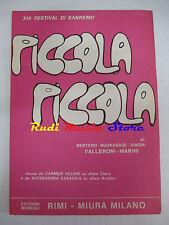 CARMEN VILLANI Piccola piccola 1969 RARO SPARTITO SINGOLO RIMI cd lp dvd mc