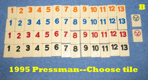 Individual /'95 Pressman Rummikub Replacement Tiles Large Number Edition-U Choose