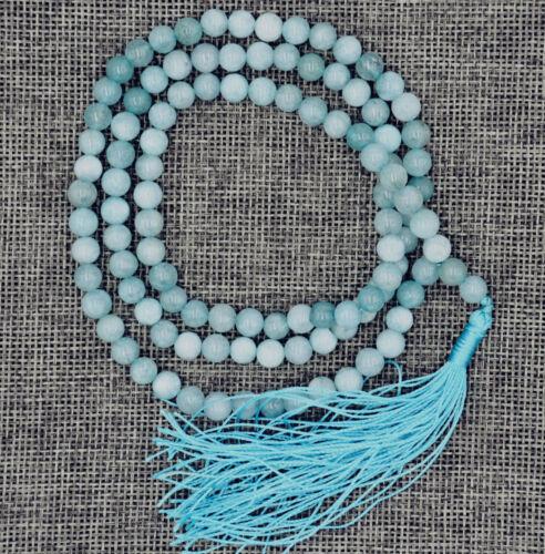 8 Mm Pierre bouddhiste Naturelle Aigue-marine 108 prière perles Mala Bracelet Collier