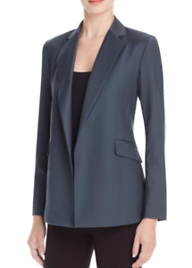 535 NWT Theory Sedeia LS Continuous Open-Front Sea bluee Wool Blend Blazer sz 0