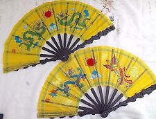 2 CHINESE DRAGON YELLOW KUNG FU MARTIAL ART TAI CHI TAIJI HAND FAN JAPANESE HHKK