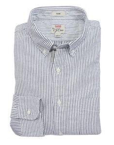 J-Crew-Men-039-s-S-Slim-Fit-NWT-Gray-amp-White-Striped-Oxford-Cotton-Shirt-H4750