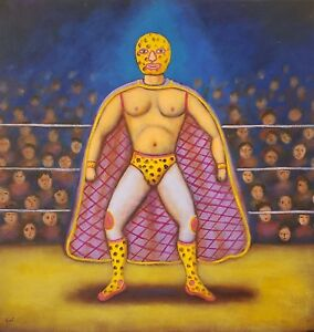 Beautiful-painting-luchador-mexican-wrestling-painting-by-artist-Esau-Andrade
