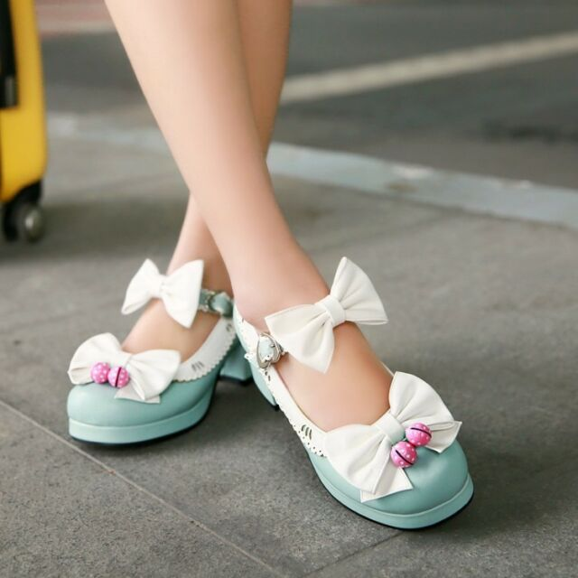 Sweet Cute Women Lolita Bowknot Mary Janes Shoes Candy Joker Pump Cosplay Shoes
