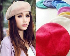 Women-039-s-Sweet-Solid-Warm-Wool-Winter-Beret-French-Artist-Beanie-Hat-Ski-Cap-Hats