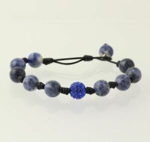 NEW-Sodalite-amp-Rhinestone-Bracelet-Sterling-Silver-Accents-Toggle-Clasp