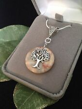 Sterling Silver Tree of Life Natural Agate Gemstone Pendant Necklace 18""