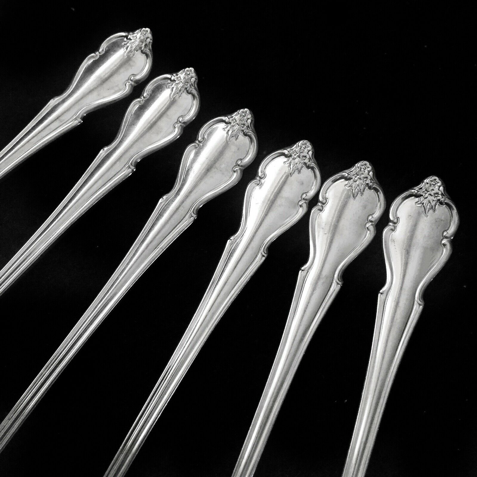International International International Deluxe - AMERICAN Rosa 1967 Stainless - 6 ICED TEA Spoons - HTF 45976a