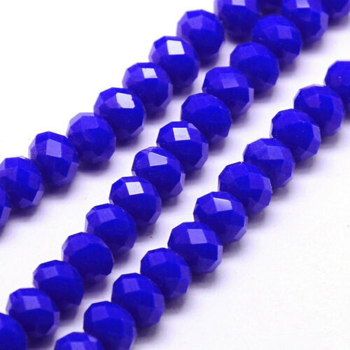 25 Opaque Crystal Glass Beads Faceted Rondelles 8mm x 6mm BD687