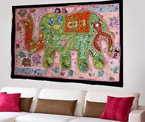 HANDMADE-ELEPHANT-BOHEMIAN-PATCHWORK-WALL-HANGING-EMBROIDERED-TAPESTRY-INDIA-X63