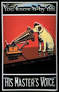 His-Masters-Voice-rot-Blechschild-Schild-Blech-Metall-Metal-Tin-Sign-20-x-30-cm