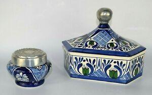 LOT-of-2-Mexican-Folk-Art-POTTERY-Trinket-Jewelry-BOX-Pewter-Lid-COBALT-BLUE