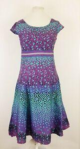 Per-Una-Rosa-Purpura-Azul-Vestido-Largo-Manchado-Algodon-FLARE-Floaty-UK-12-L-Vacaciones