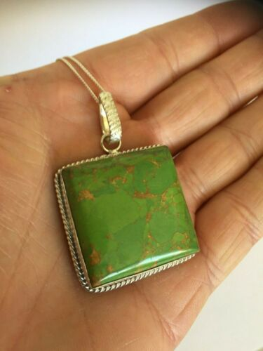 Details about  /925 Sterling Silver Copper Green Turquoise Pendant 925 Curb Chain Jewellery 35mm