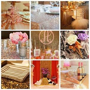 Gold-Silver-Champagne-Sequin-Table-Runner-Cloth-Material-Party