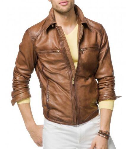 Men Leather Jacket Brown Slim Fit Style Biker Leather Jacket